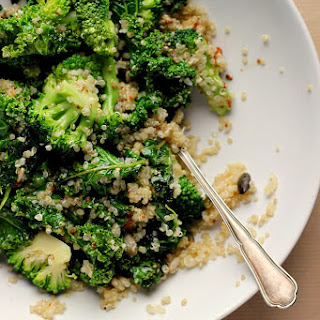 Warm Kale, Quinoa + Broccoli Salad Bowl with Cider Mustard Dressing