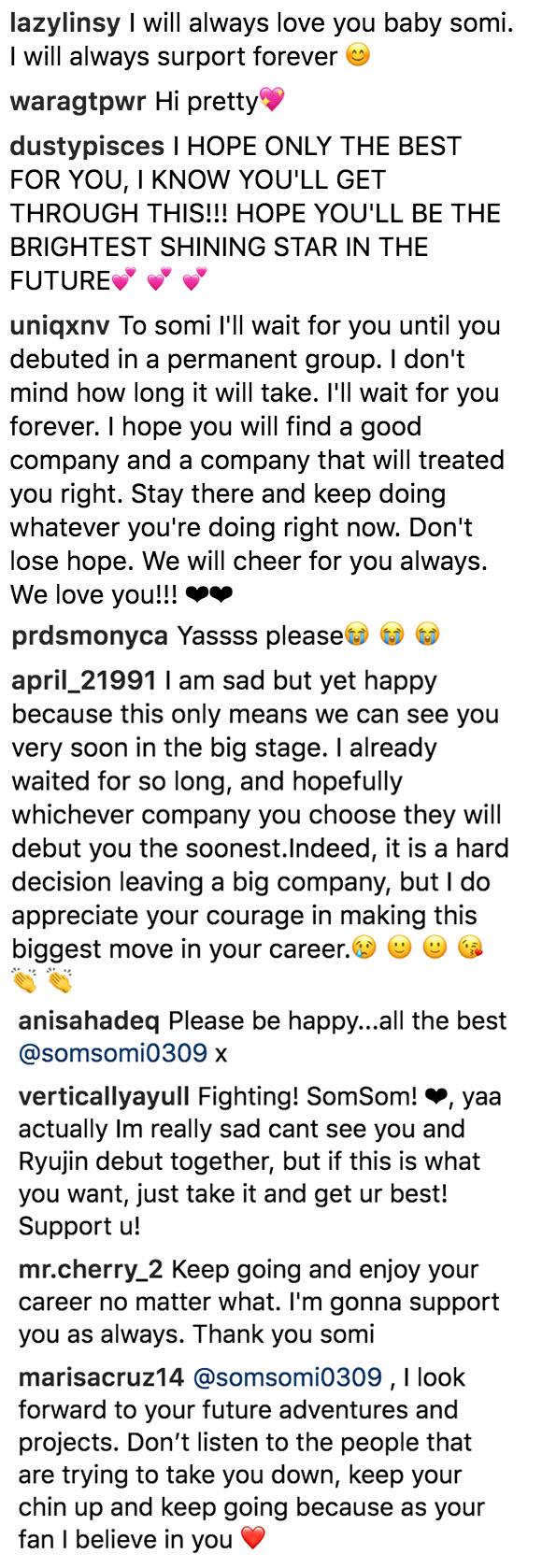 somi instagram fans support
