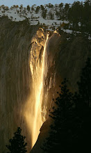Photo: Breathtaking  Every year for a few days in the month of February, the sun's angle is such, that it lights up Horsetail Falls in Yosemite, as if it were on fire.