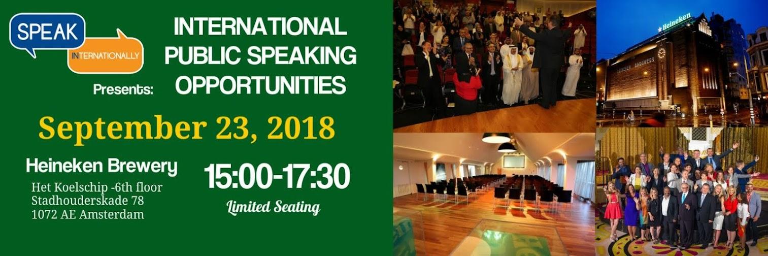 International Speaking Opportunities 2019