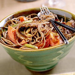 Soba with Marinated Beef and Tomatoes