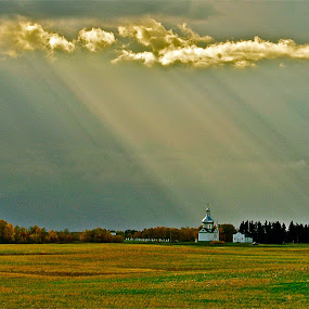 HAND OF GOD. by Udo Weber - Landscapes Prairies, Meadows & Fields ( god, church, peace, praries, rays, sun )