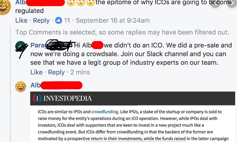 "ICO team member suggests that they didn't hold an ICO because they held a ""crowdfunding""."