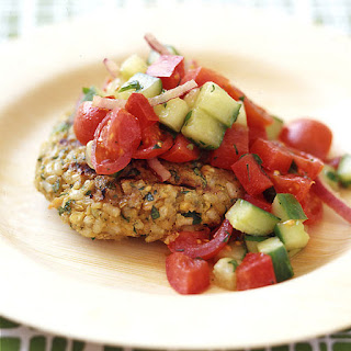 Chickpea and Brown Rice Veggie Burgers with Tomato Salad.