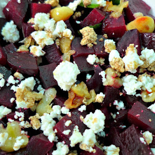 Beetroot Salad with Goats Cheese & Caramelized Garlic.