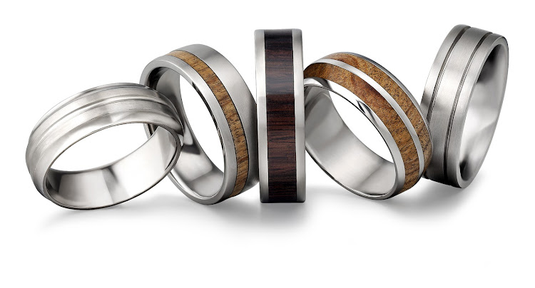 Titanium bands from left: R1,199 , R2,999 , R2,999 , R3,199 and R1,199, all Arthur Kaplan.