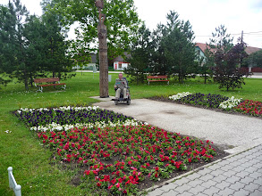 Photo: Small park in Velence, Hungary close to bank, post office and supermarket.
