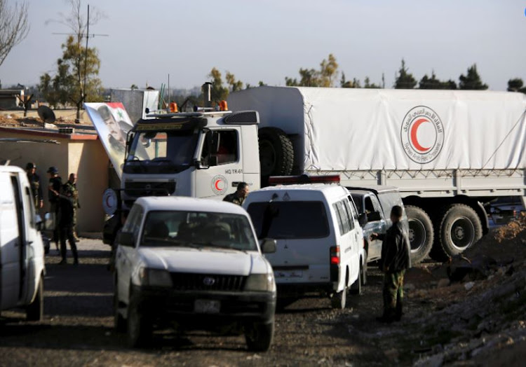 Aid covoy is seen after returning from eastern Ghouta in Damascus, Syria March 9, 2018.