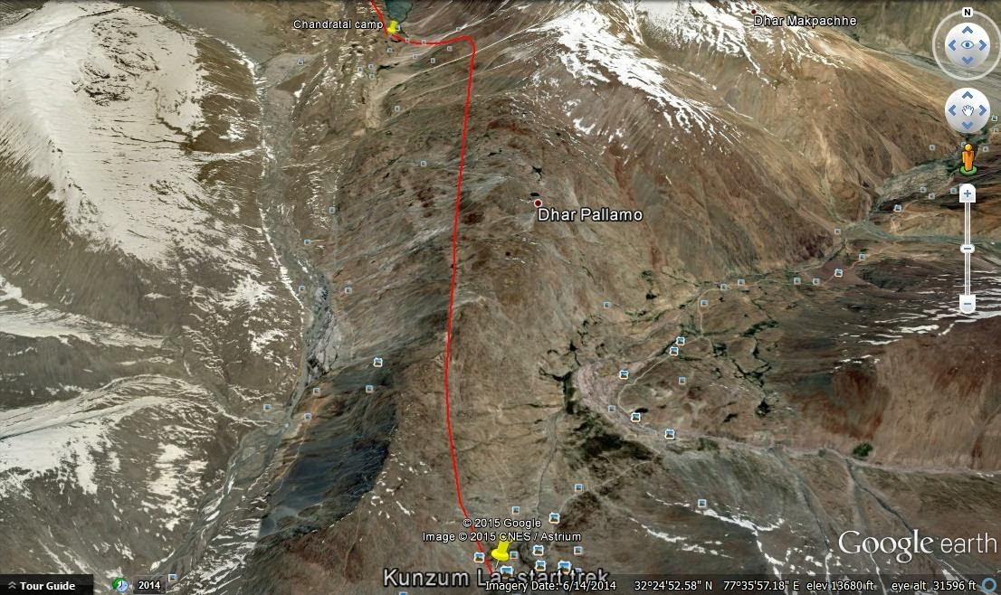 Hiking route from Kunzum La to Chandrataal