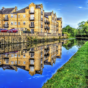 shadows in the canal by Betty Taylor - City,  Street & Park  Vistas ( waterways, reflections, waterscape, hdr, houses )