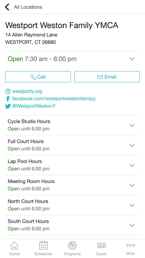Westport Weston Family YMCA- screenshot