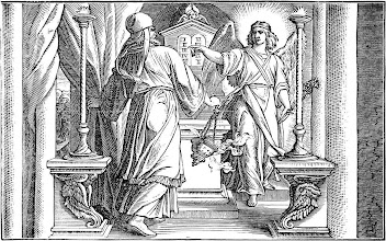 "Photo: The Angel Gabriel Appears Unto Zacharias by Julius Schnorr von Karolsfeld (1794 – 1872) Birth of John the Baptist Foretold Elizabeth was barren, and both were advanced in years.  Now while he was serving as priest before God when his division was on duty, according to the custom of the priesthood, he was chosen by lot to enter the temple of the Lord and burn incense. And the whole multitude of the people were praying outside at the hour of incense. And there appeared to him an angel of the Lord standing on the right side of the altar of incense. And Zechariah was troubled when he saw him, and fear fell upon him. But the angel said to him, ""Do not be afraid, Zechariah, for your prayer has been heard, and your wife Elizabeth will bear you a son, and you shall call his name John. Luke 1:7b-13 ESV"