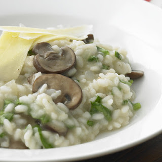 Creamy Arugula and Mushroom Risotto.