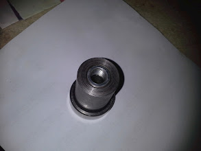 Photo: the nut was machined down to round shape and was inserted into the reduction