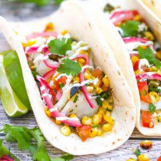 Fish Tacos with Charred Corn and Jalapeño Salsa.