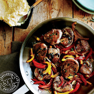 Pork Tenderloin with Red & Yellow Peppers.