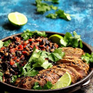 Cuban Style Mojo Marinated Pork Tenderloin with Black Beans.