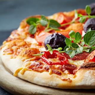 Real-Italian Pepperoni and Kalamata Olive Pizza