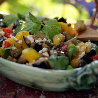 Eggplant Salad With Peppers, Mint and Caper-Feta Vinaigrette