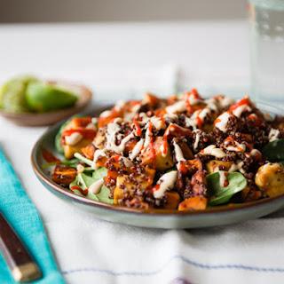 Quinoa with Tempeh, Sweet Potatoes and Tahini-Miso Sauce