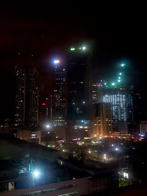 Nighttime view from my hotel in Manila