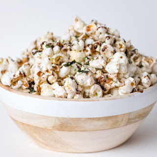 Homemade Popcorn with Nori Komi Furikake and Balsamic Drizzle