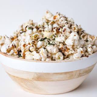 Homemade Popcorn with Nori Komi Furikake and Balsamic Drizzle.