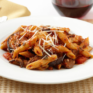 Penne with Roasted Eggplant and Savory Mushroom Ragu