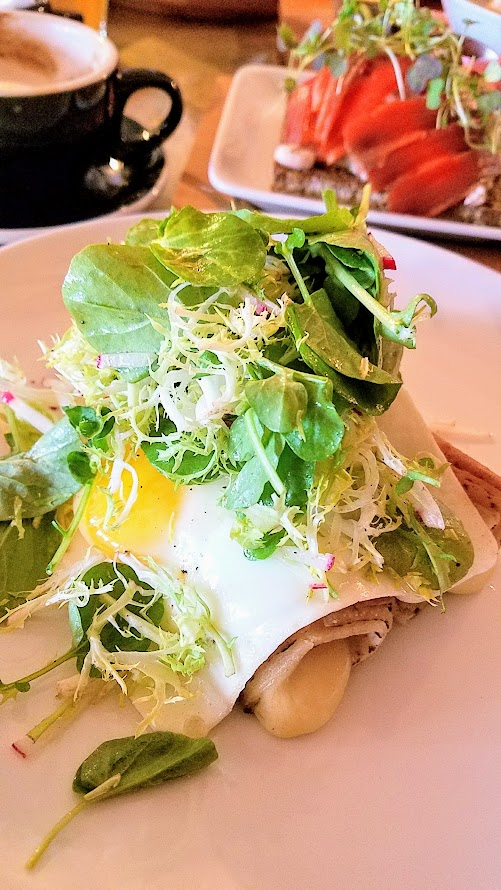 Brunch at Broder Nord - Lefse, a Norwegian potato crepe filled with rotating ingredients (mine was Havarti and salami) topped with baked eggs and served with mixed greens