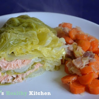 Stuffed Cabbage with Salmon On a Bed of Carrots and Bacon