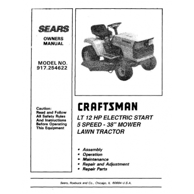 Sears Craftsman Lawn Tractor Owner S, Sears Craftsman Riding Lawn Mower Wiring Diagram