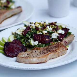Frenched Pork Chops with Roasted Beet and Apple Salad {full recipe below}