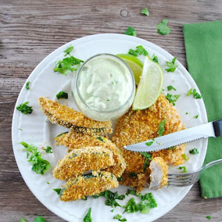 Sheet Pan Mexican Panko Crusted Pork and Zucchini Sticks with Avocado Sauce