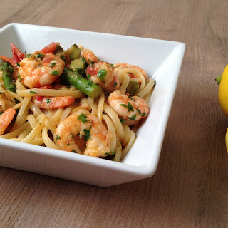 Prawn Linguine with Tomatoes and Asparagus.