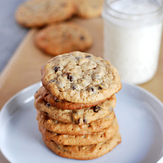 Honey Peanut Butter Oatmeal Drop Cookies with Chocolate Chips