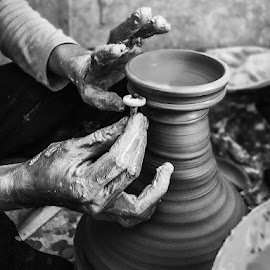 Artist at Work by Sumesh Makhija - Black & White Abstract ( art, hands, pot, pixoto, work, monochrome, abstract, black and white, clay,  )