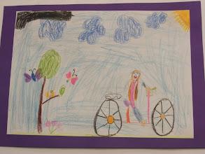 """Photo: Trzecie miejsce - GRATULUJEMY !!!! praca Agnieszki """" Jeździmy rowerem bo ... na rowerze możemy podziwiać przyrodę """""""