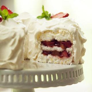 Strawberry-Rhubarb Angel Food Cake