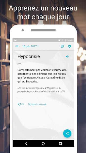 Mot du jour — Dictionnaire Français : définition Android App Screenshot