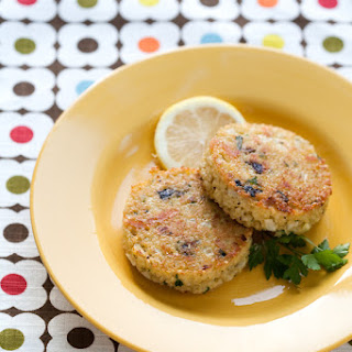 Quinoa Cakes with Lemon, Olive, and Parsley.