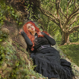 Rest in ivy by Michaela Firešová - Digital Art People ( digital photography, forest, tree, female, ivy )