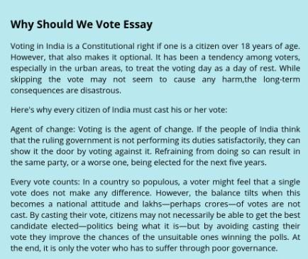 Why my vote matters essay
