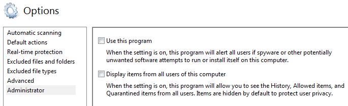 Uncheck Use this program