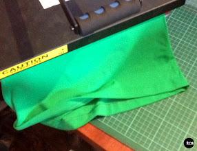 Photo: Heat press applied to transfer vinyl to singlet #NYCMarathon