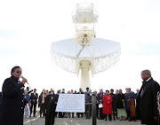 Deputy President David Mabuza' Minister of Science and Technology Mmamoloko Kubayi-Ngubane and Minister of Higher Education Naledia Pandor at the launch of the MeerKAT radio telescope in the Northern Cape on July 13' 2018.