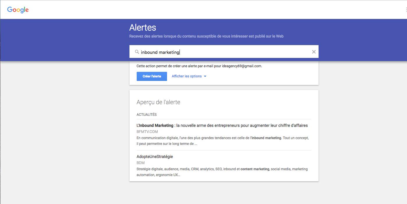 google alertes curation de contenu