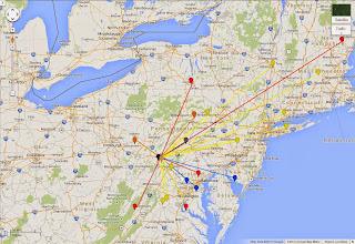 Photo: K8GP / Rover - FM09WX QSO map - ARRL June VHF 2014 - Brn=50 Red=144 Org=222 Yel=432 Grn=902 Blu=1.2G Pur=2.3G Gry=3.4G Wht=5.7G Gld=10G