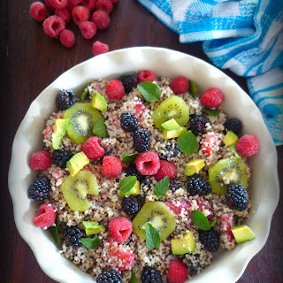 Healthy Fruit and Quinoa Salad with Yogurt Dressing