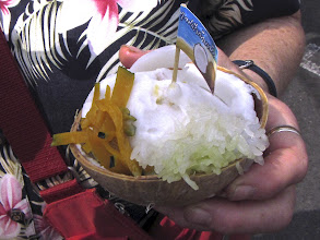 Photo: the coconut ice cream served on the half-shell with cooked pumpkin and pandan-flavored sticky rice