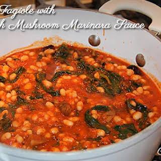 Pasta Fagiole with Spinach Mushroom Marinara Sauce.